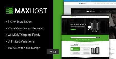 maxhost web hosting whmcs and corporate business theme - دانلود قالب میزبانی وب مکس هاست MaxHost نسخه وردپرس و WHMCS