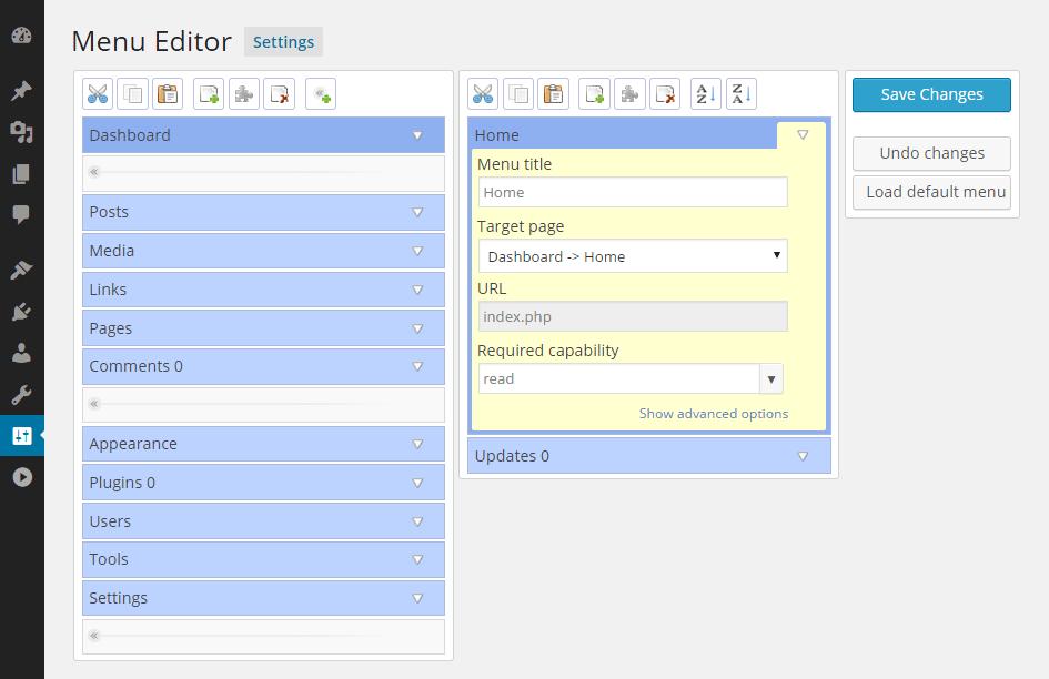 افزونه Admin Menu Editor نسخه ۱٫۹٫۱