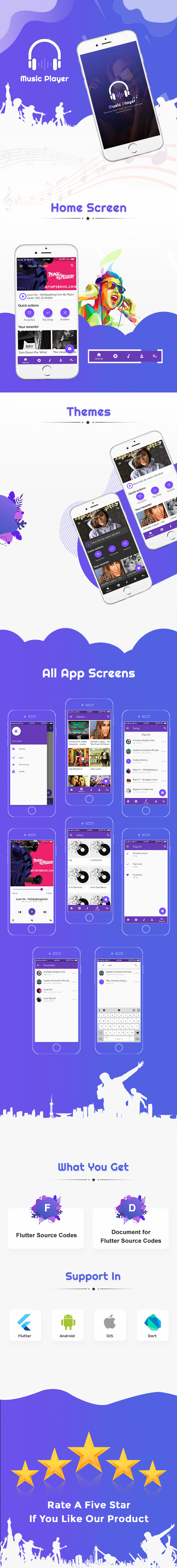 Flutter Cover kamyabscript.ir  - سورس اندروید Flutter App-Music Player نسخه 1.0